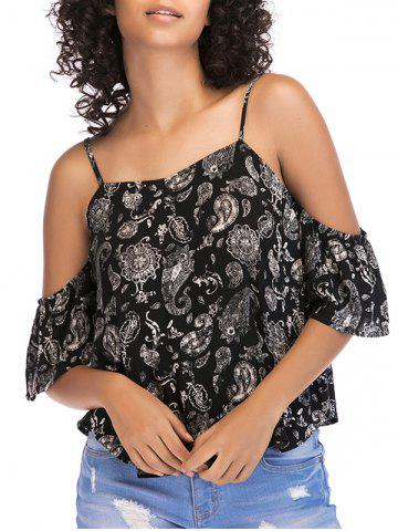 Latest Tribal Print Cold Shoulder Casual Top