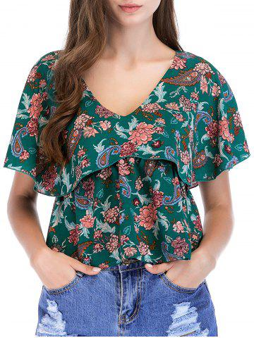 Outfits Floral Print Ruffle Sleeve Blouse