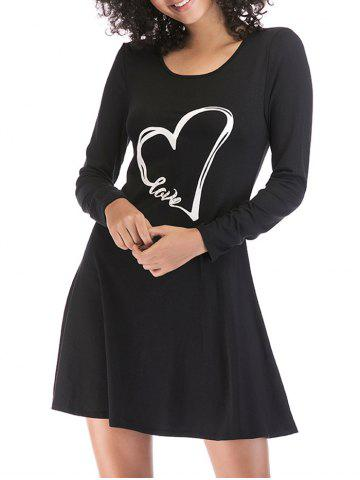 Shop Heart Print Slim Fit Mini Dress