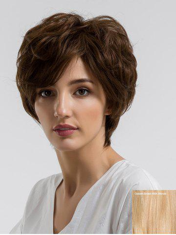 Shops Short Side Bang Fluffy Slightly Curly Human Hair Wig