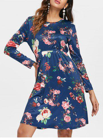 Discount Long Sleeve Floral Print Dress