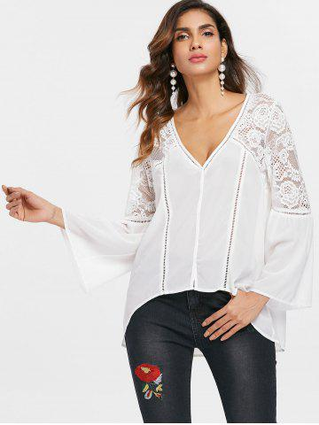 Sheer Lace Insert Flare Sleeve Blouse