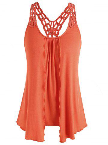 Store Double Layered Crochet Back Tank Top