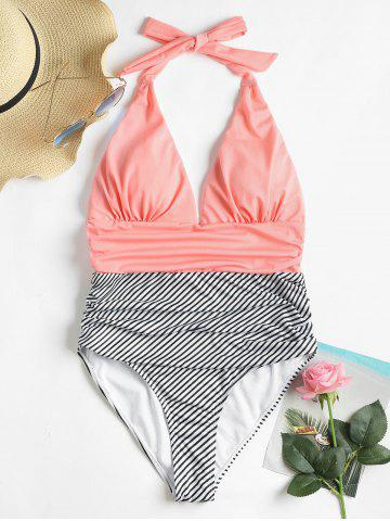 High Cut Striped Backless Swimsuit