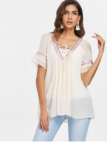 Lace Up Collar Embroidery Chiffon Blouse