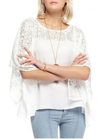 Lace Round Neck Batwing Sleeve Loose Blouse