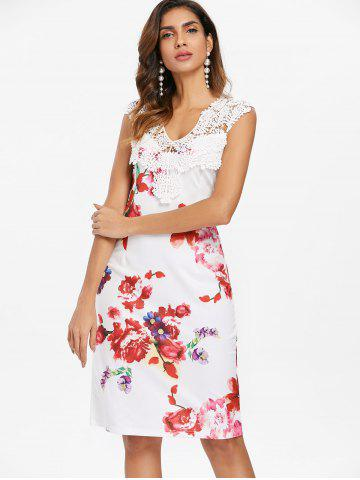 Floral Print Applique Pencil Dress