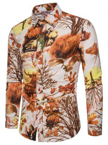 Autumn Forest Animals and Plants Print Button Up Shirt