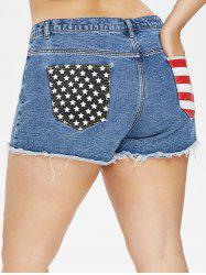 Plus Size American Flag  Raw Hem Jean Shorts -