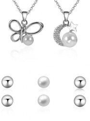 Unique Rhinestone Moon Butterfly Faux Pearl Necklace Earrings Set -