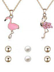 Vintage Flamingo Necklace Pendant Necklace Stud Earrings Set -