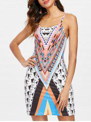 Geometric Pattern Spaghetti Strap Shift Dress -