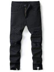 Slim Fit Distressed Zipper Hem Jeans -