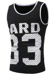 33 and Letter Print Tank Top -