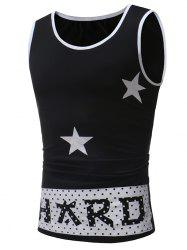 Star Letter Print Round Neck Tank Top -