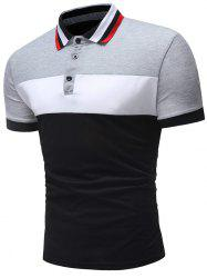Panel Wide Stripe Polo Collar T-shirt -