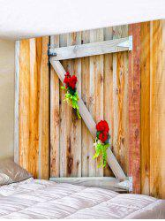 Wooden Door Flower Pattern Tapestry Wall Hanging Decor -