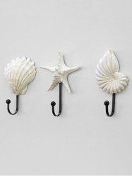Shell Starfish Conch Shaped Wall Hooks Набор 3PCS -