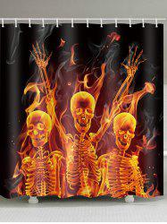 Flame Skull Skeleton Print Waterproof Shower Curtain -