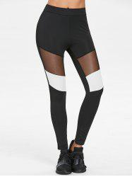 Elastic Waist Color Block Leggings -