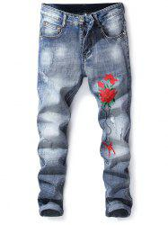 Floral Embroidery Slim Fit Jeans -