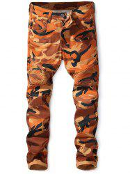 Zipper Fly Narrow Feet Camo Biker Jeans -