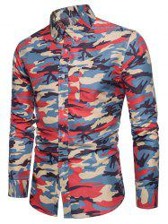 Pocket Camouflage Button Down Collar Long Sleeve Shirt -