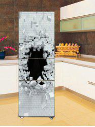 Broken Brick Wall Print DIY Fridge Cover Sticker -
