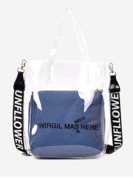 2 Pieces Transparent Chic Letter Print Handbag Set -