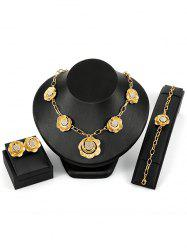 Vintage Rhinestone Inlaid Alloy Floral Wedding Jewelry Set -