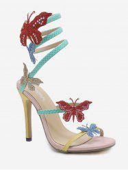 Twist Butterfly Dazzling Glitters Stiletto Heel Sandals -