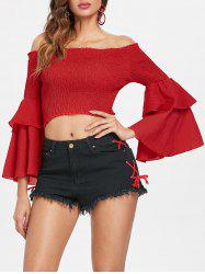 Shirred Bell Sleeve Crop Top -