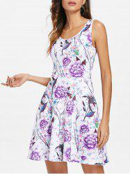 Flowers Print Sleeveless Fit and Flare Dress -