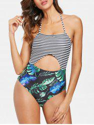 Palm Cut Out Halter Swimsuit -
