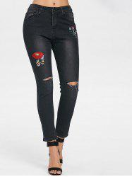 Flower Embroidery Fit Ripped Jeans -