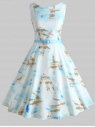 Musical Notes Birds Print Vintage Dress -