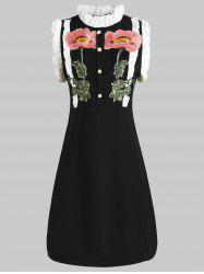 Ruffled Buttons Embroidery Dress -