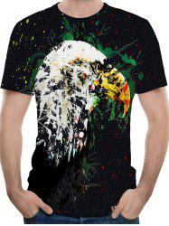 3D Hawk Paint Print Crew Neck T-shirt -