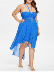Halter Plus Size Empire Waist Flowy Tankini Set -
