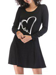 Heart Print Slim Fit Mini Dress -
