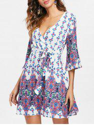 Bohemia Print Faux Wrap Dress -