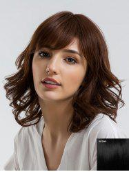 Medium Side Bang Wavy Human Hair Wig -