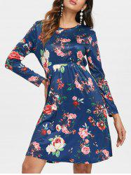 Long Sleeve Floral Print Dress -