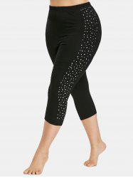 Plus Size Glittering Sides Cropped Leggings -