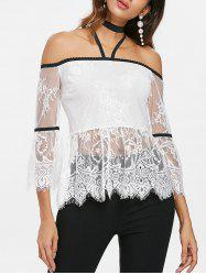 Halter Neckline Backless Lace Blouse -