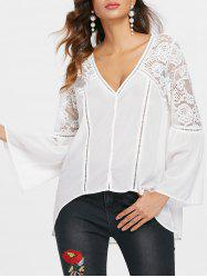 Sheer Lace Insert Flare Sleeve Blouse -