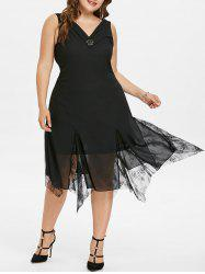 Plus Size Lace Cowl Back Midi Dress -