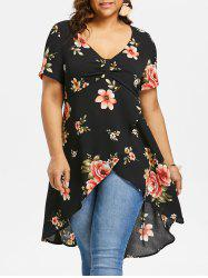 Plus Size Empire Waist Floral Tulip Blouse -