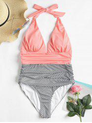 High Cut Striped Backless Swimsuit -