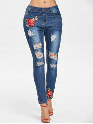 Floral Embroidery Slim Ripped Jeans -